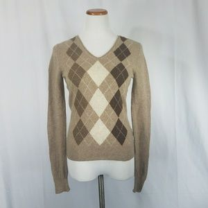 100% Cashmere Argyle Sweater Apt 9 Small